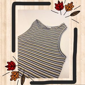 Striped Zara Racerback Crop Tank | Size M